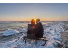 Paar im Winter am Hörnumer Strand