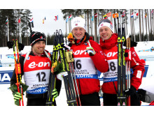 Brødrene Bø jubler etter sprinten, VM Kontiolahti 2015
