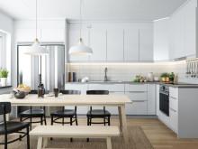 Illustration av kök i radhus, BoKlok Fritiden i Lindbacka. OBS! Bilden är en illustration och avvikelser kan förekomma i slutprodukt.