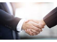 Geschäftsleute Frau und Mann schütteln Hände