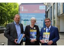 Die Organisatoren Stefan Neubert (Vorsitzender Durchführungsverein KDL), Christiane Lafeld (Governorratsvorsitzende 2017/18) und Ulrich Stoltenberg (Pressesprecher der deutschen Lions) freuen sich auf den Kongressstandort Leipzig