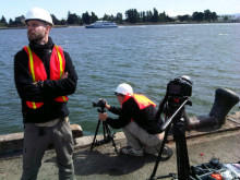 Mårten strikes a pose at the Port of Oakland while preparing to film Cavotec AMP systems. #Cavotecfilm