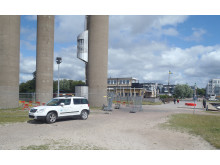 Avspärrning vid nya vattentornet i Landskrona