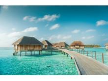 Maldiverne er også med i Club Meds program. Her er der mulighed for at bo i luksuriøse træhytter på azurblåt hav.