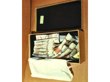 Photo of box of cash seized at home of Ioan Gherghel