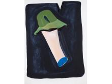 Pia Mauno, Duett med grön hatt, 145 x 200 cm, vinylfärg och olja på duk