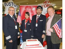 Lars Garde (Captain), Diana Menzes (Cabin Crew)  Robert Bjorkholm (Co-pilot) and Graham Keddie (MD Belfast International Airport)