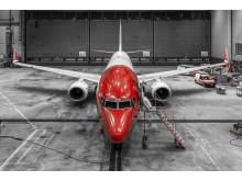 Norwegian 737-800 in hangar