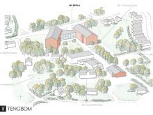 Bälinge skola - skiss från volymstudien. Källa: Tengbom arkitektkontor.