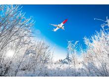 Avión en paisaje nevado