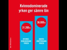 Kvinnodominerade yrken ger sämre lön