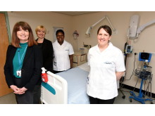 L-R - Debbie Reape and Dr Alison Machin with students Ogechi Okore and Jenni Thompson