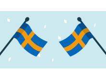 Svenska flaggor, illustrerade.