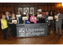 People from North Glasgow proudly show off their certificates having completed the latest Activate course with Glasgow University.