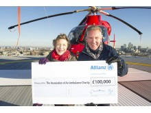 Jon Dye, CEO, Allianz UK, presented Liz Campbell, Chairman of the AAAC with a cheque for £100,000.