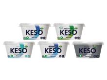 KESO® Naturell 250 g (Original, Mini, Ekologisk, Laktosfri, Protein) med ny förpackningsdesign och pappersfiberbägare lanseras v.16 i butik.