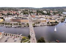 Flygbild Nybron mellan Kronholmen och Härnön, Härnösand, Höga Kusten