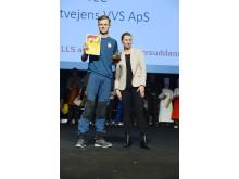 Vvs-energispecialist-elev Lucas Barkow og statsminister Mette Frederiksen