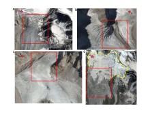 Fyra av de glaciärer som rör sig snabbast (röda rektanglarna) bland de 112 glaciärer som studerats i ett av västra Himalayas avrinningsområden. Foto:CNES/Airbus.