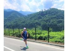 Kristian Blummenfelt på en av sine siste løpeøkter før testeventet i Japan.
