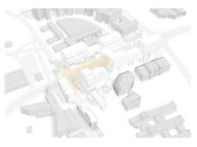 Modell över hela planområdet, Ideontorget och Idépromenaden.