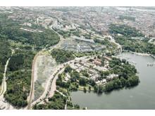 Campus Albano, flygperspektiv mot staden, Stockholm