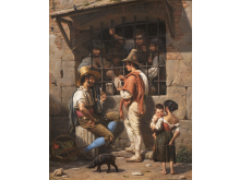Wilhelm Marstrand, 'En fængselsscene i Rom', 1837. Nivaagaards Malerisamling