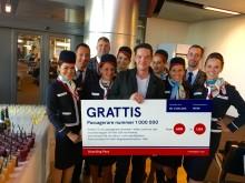 Norwegian firar att en miljon passagerare har rest med bolagets långlinjer till och från Arlanda