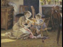 Viggo Pedersen - Solskin i dagligstuen. Kunstnerens hustru og barn,1888. SMK Foto