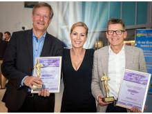 TV2-værten Cecilie Beck flankeres her af prisvinderne fra Thomas Cook Airlines og Spies, direktør Torben Østergaard (tv.) og Jan Vendelbo.