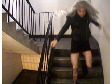 Mark Brown - in wig stairwell