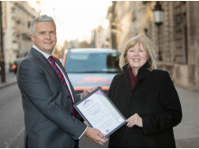RAC head of dealer propositions, Mario Dolcezza, with the president of the Chartered Trading Standards Institute