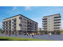 Visionsbild nya bostäder Oxievång 7 (t v) och Oxievång 2 (t h)