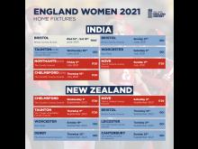 England Women's Fixtures 2021