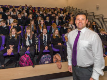 Head teacher Hugh McCulloch with S1 pupils