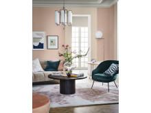 Vardagsrum i ny rosa kulör från Caparol by Sköna hem
