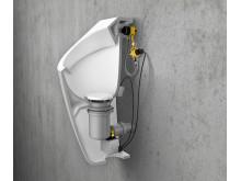 Urinalsteuerungen wie ProDetect 2 erkennen über einen Sensor, wann gespült werden muss und tragen damit zu einem optimierten Wasserverbrauch und verbesserter Hygiene bei.