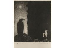 John Bauer, Här har du allt som återstår av mina kläder, 1915. Akvarell och gouach på papper 30 x 34 cm.