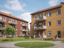 Illustration av gårdssida med balkong/altan med gräsplatt samt gemensamma grönytor, lägenheter i BoKlok Svärdet i Hemlingby.