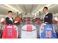 Norwegian crew members with NBA basketball