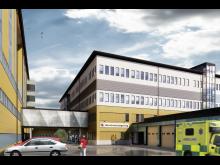 Hus 0708 - ny ambulanshall och länkbyggnad_Foto Region Gävleborg