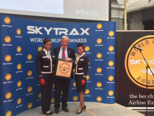 CEO Bjorn Kjos receives SkyTrax Award for Best Low-Cost Long-Haul Airline in the World'  with Long Haul Crew at P