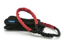 Förtöjningslinan STORM svart med röda slithylsor