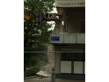 Gammalt hus rivs på Kortedala Torg och ger plats åt nytt flerbostadshus