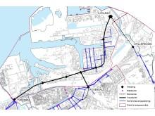 Karta över tänkt sträckning av Malmö avloppstunnel
