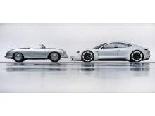 """The past and the future of Porsche: 356 """"No.1"""" Roadster and Mission E."""