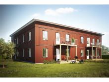 Illustration av gårdssida med balkong. Huset på bilden är inte det som ska byggas i BoKlok Droskan men är av samma hustyp. Avvikelser kan därför förekomma.