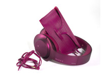 Sony h.ear on pink headphones with sunglasses case