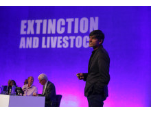 Food campaigner Professor Raj Patel speaking at the Extinction & Livestock Conference, QEII Centre, London, October 2017.