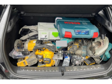 Power tools seized during one of the vehicle stops